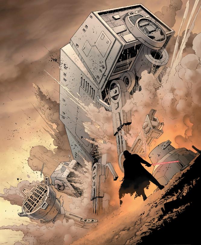 """Darth Vader derriba con facilidad un AT-AT en """"Star Wars"""" #3."""