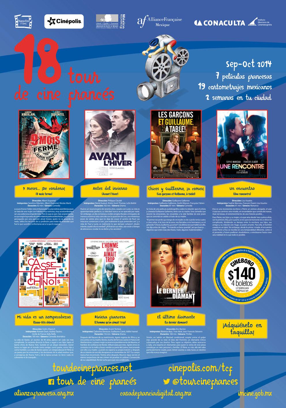 18 tour de cine franc s un fest n f lmico para todo el for Cartelera cinepolis cd jardin