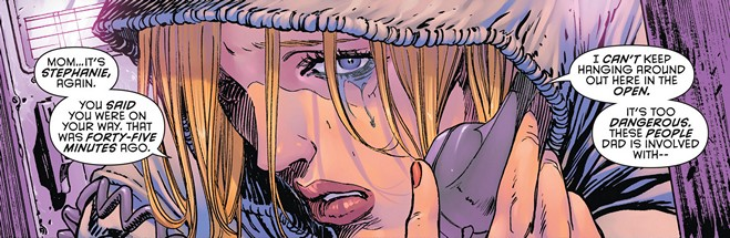 Los tonos morados y lilas de Tomeu Morey en la escena con Stephanie Brown del 'Batman Eternal #8'.