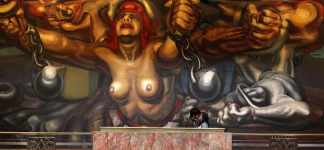 Mural 'Nueva democracia' de David Alfaro Siqueiros.