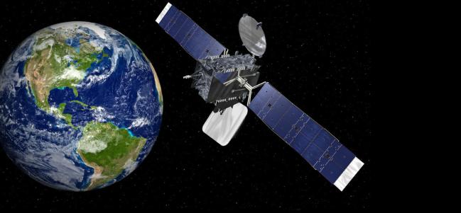 Impresión de un artista del satélite Mexsat Bicentenario en órbita. Cortesía: Orbital Sciences Corporation.