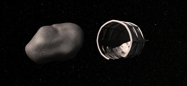 Impresión de un artista de la captura de un asteroide rico en agua. Cortesía Planetary Resources Inc.